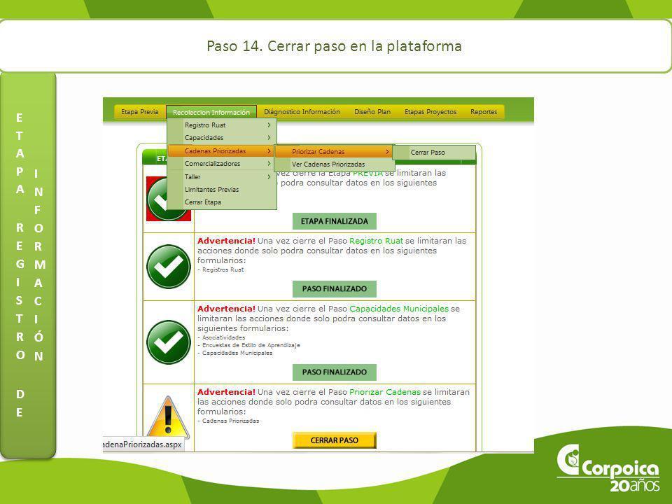 ETAPA REGISTRO DE INFORMACIÓN