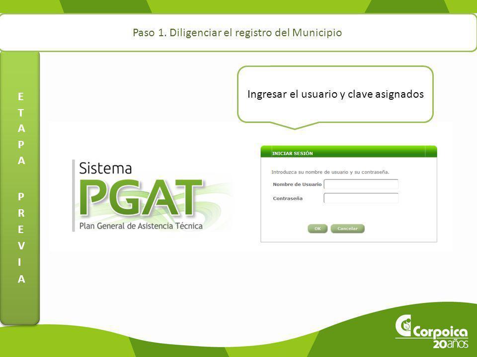 Paso 1. Diligenciar el registro del Municipio