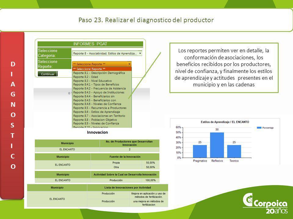 Paso 23. Realizar el diagnostico del productor