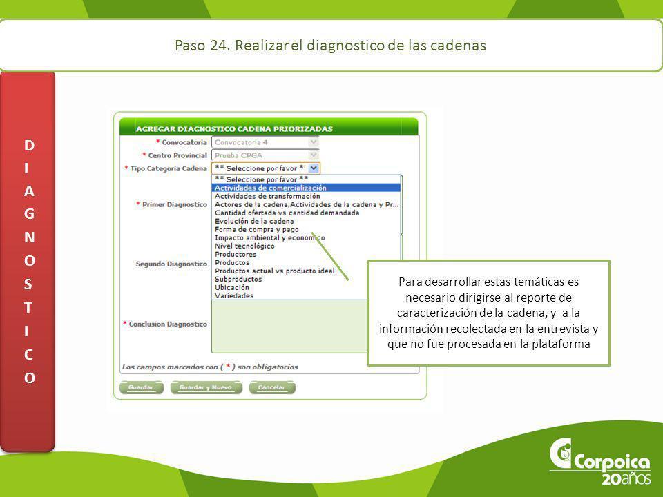 Paso 24. Realizar el diagnostico de las cadenas