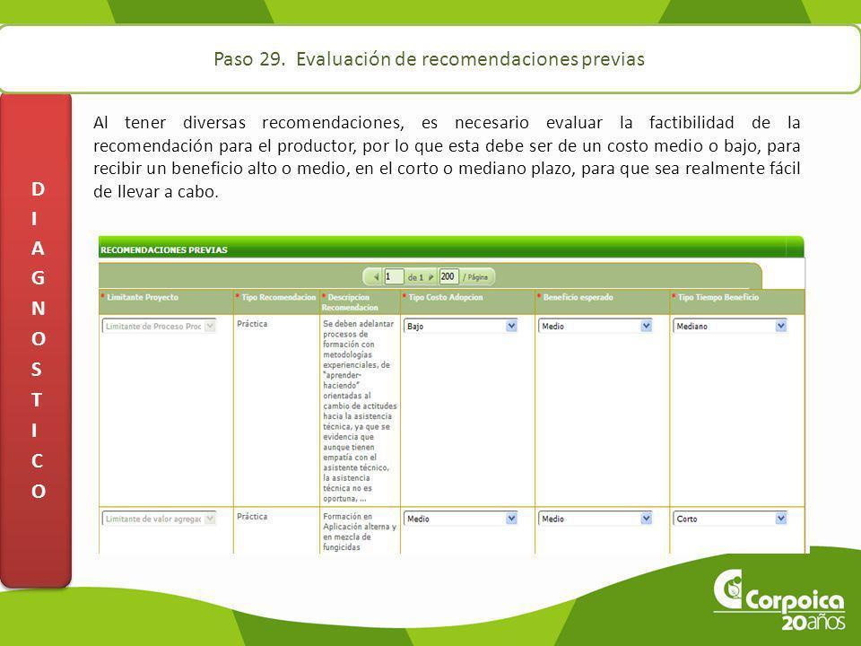 Paso 29. Evaluación de recomendaciones previas