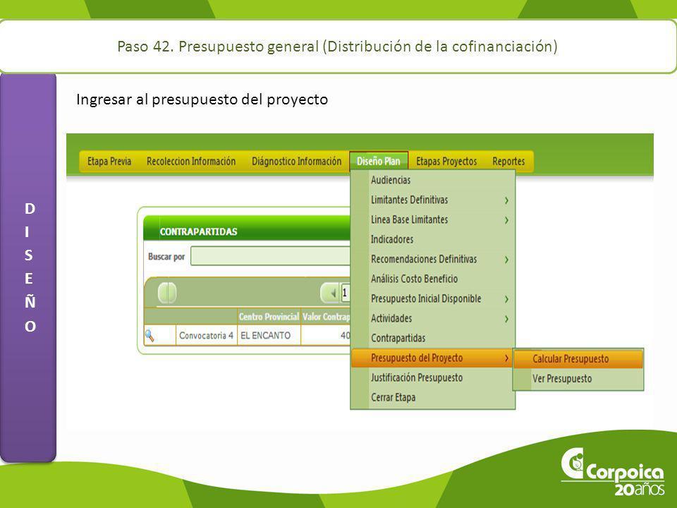 Paso 42. Presupuesto general (Distribución de la cofinanciación)