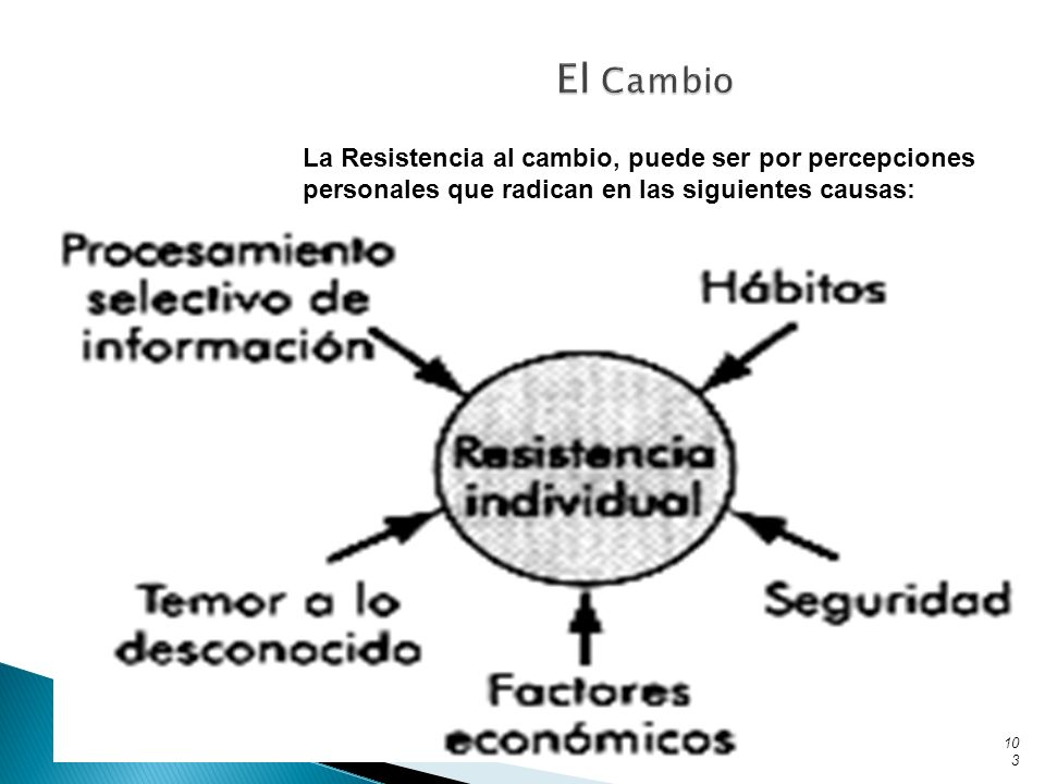 El Cambio La Resistencia al cambio, puede ser por percepciones personales que radican en las siguientes causas: