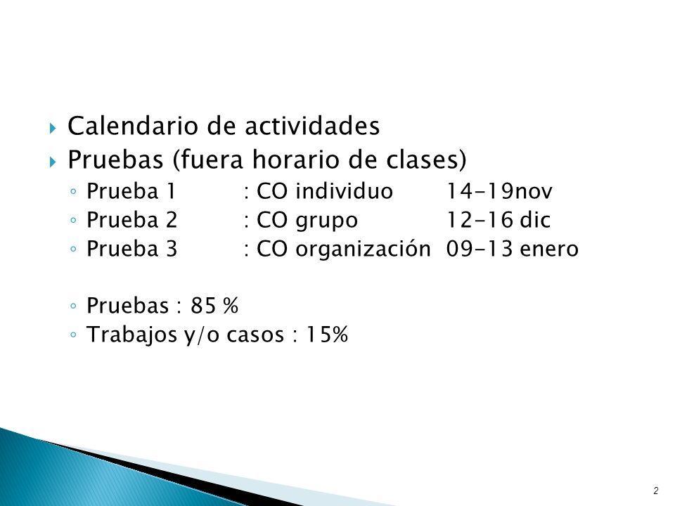 Calendario de actividades Pruebas (fuera horario de clases)