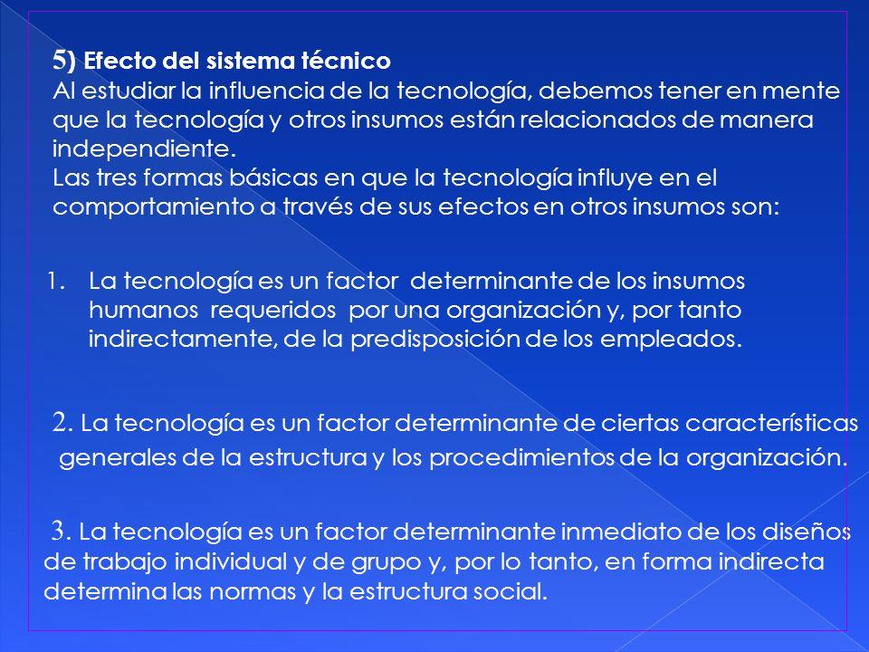 5) Efecto del sistema técnico