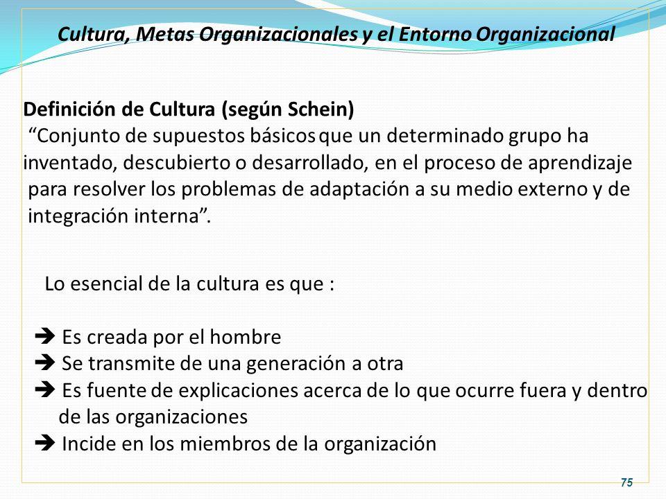 Cultura, Metas Organizacionales y el Entorno Organizacional