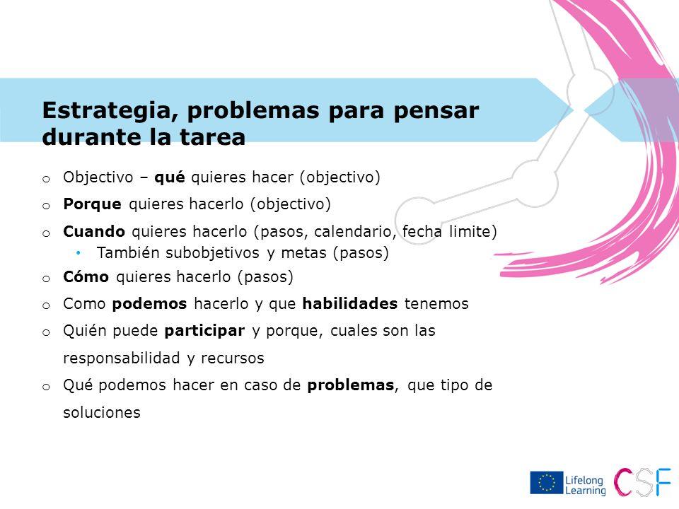 Estrategia, problemas para pensar durante la tarea