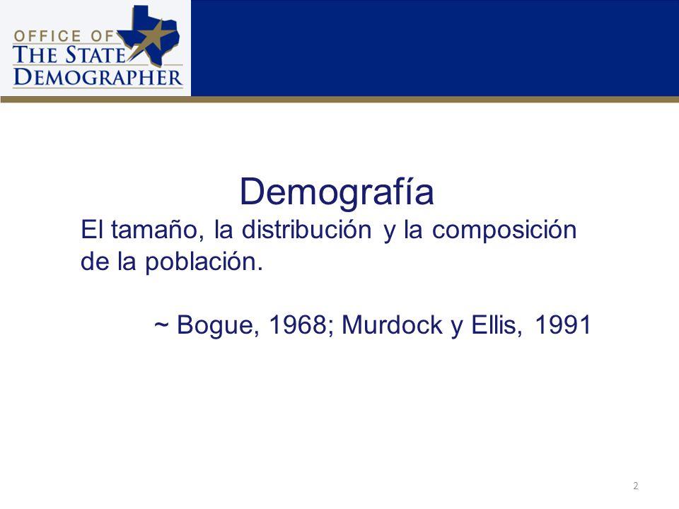Demografía El tamaño, la distribución y la composición de la población. ~ Bogue, 1968; Murdock y Ellis, 1991.