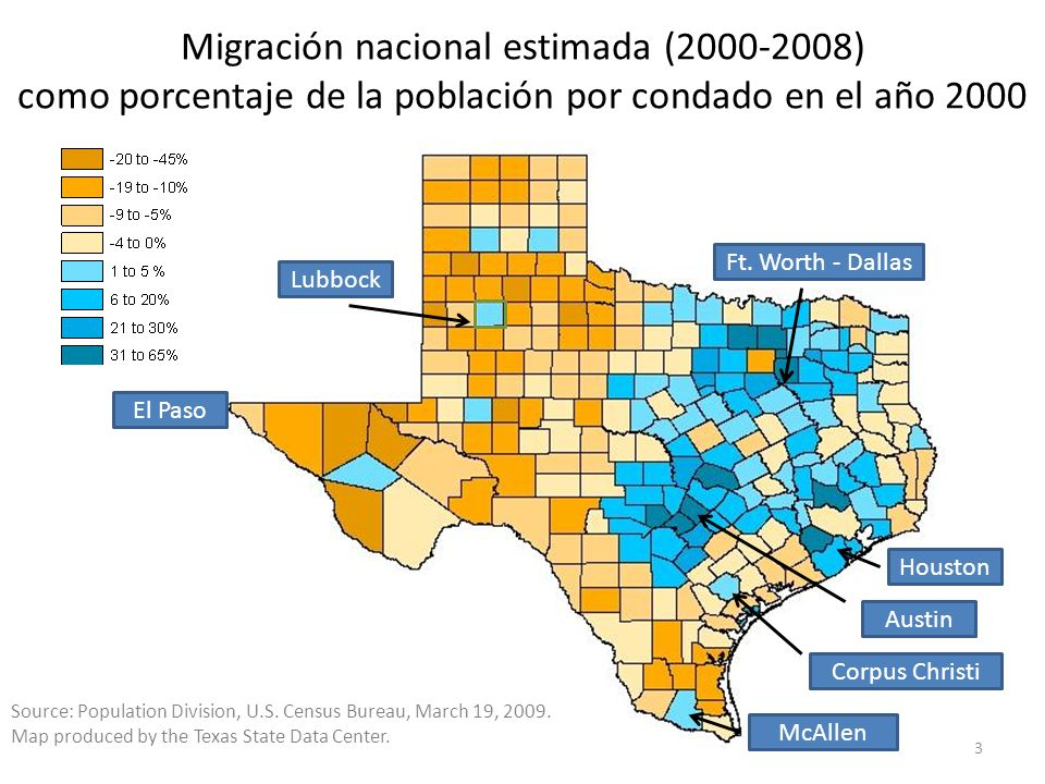 Migración nacional estimada (2000-2008) como porcentaje de la población por condado en el año 2000