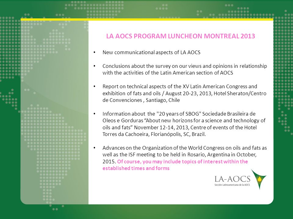 LA AOCS PROGRAM LUNCHEON MONTREAL 2013