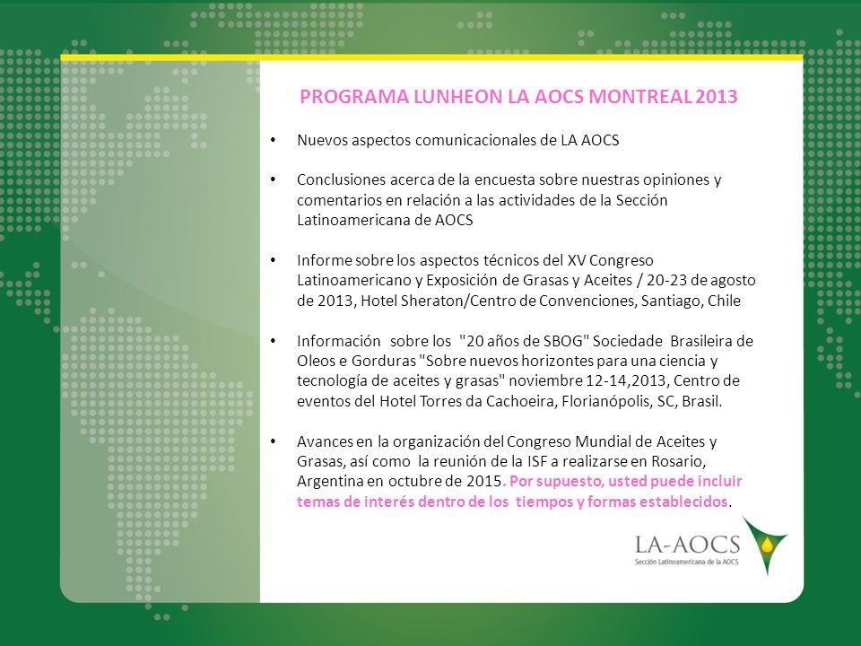 PROGRAMA LUNHEON LA AOCS MONTREAL 2013