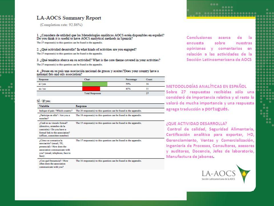 Conclusiones acerca de la encuesta sobre nuestras opiniones y comentarios en relación a las actividades de la Sección Latinoamericana de AOCS