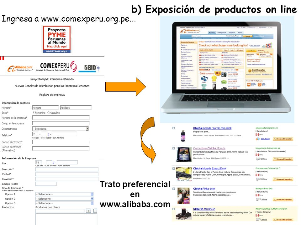 b) Exposición de productos on line
