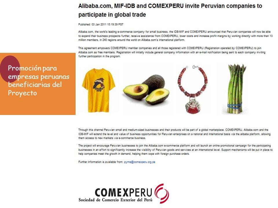 Promoción para empresas peruanas beneficiarias del Proyecto