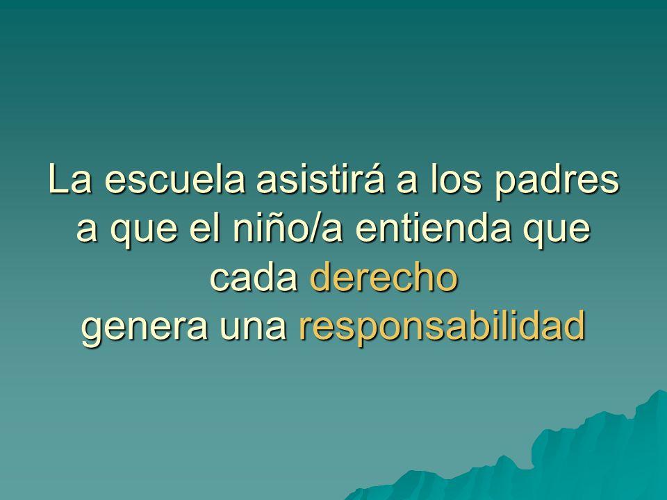 La escuela asistirá a los padres a que el niño/a entienda que cada derecho genera una responsabilidad