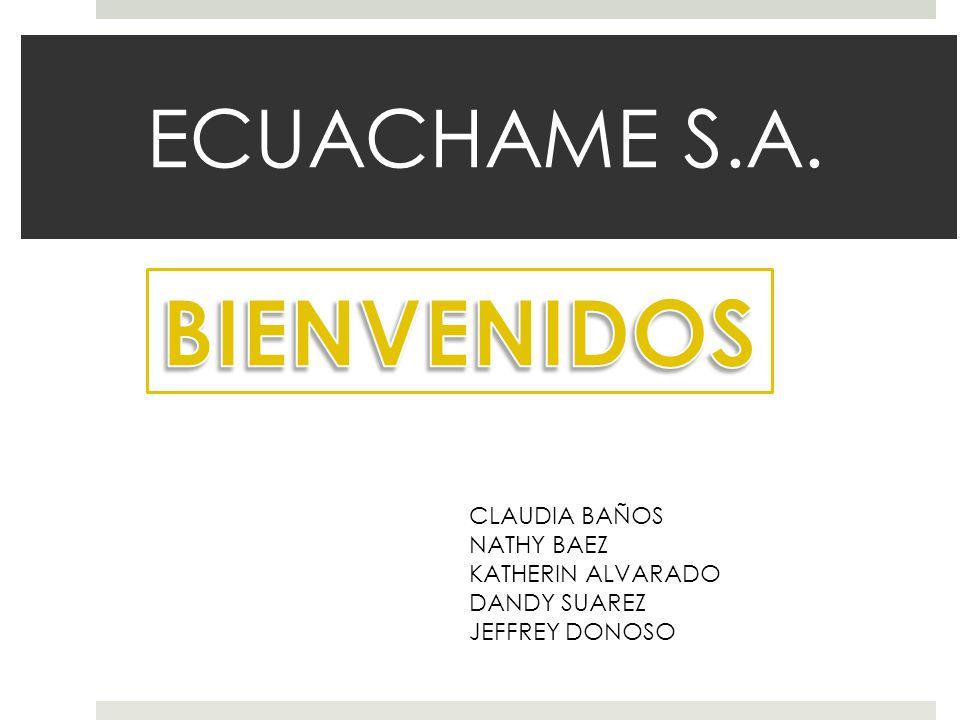 BIENVENIDOS ECUACHAME S.A. CLAUDIA BAÑOS NATHY BAEZ KATHERIN ALVARADO