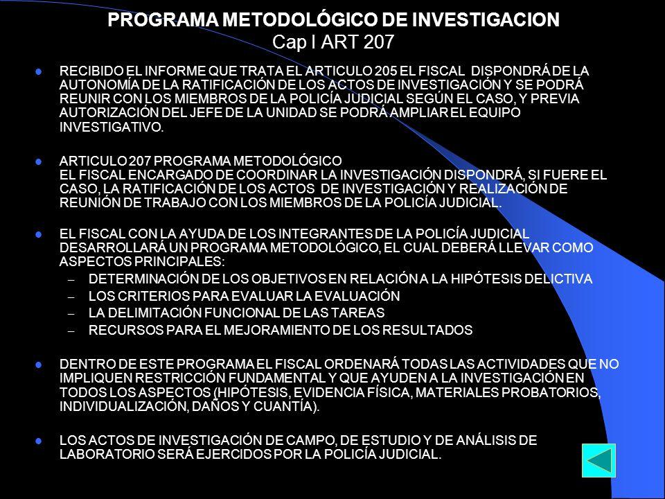 PROGRAMA METODOLÓGICO DE INVESTIGACION Cap I ART 207