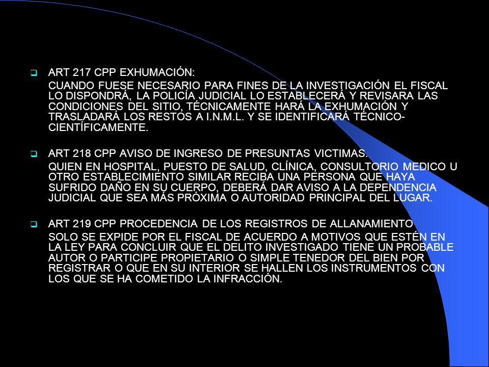 ART 217 CPP EXHUMACIÓN: