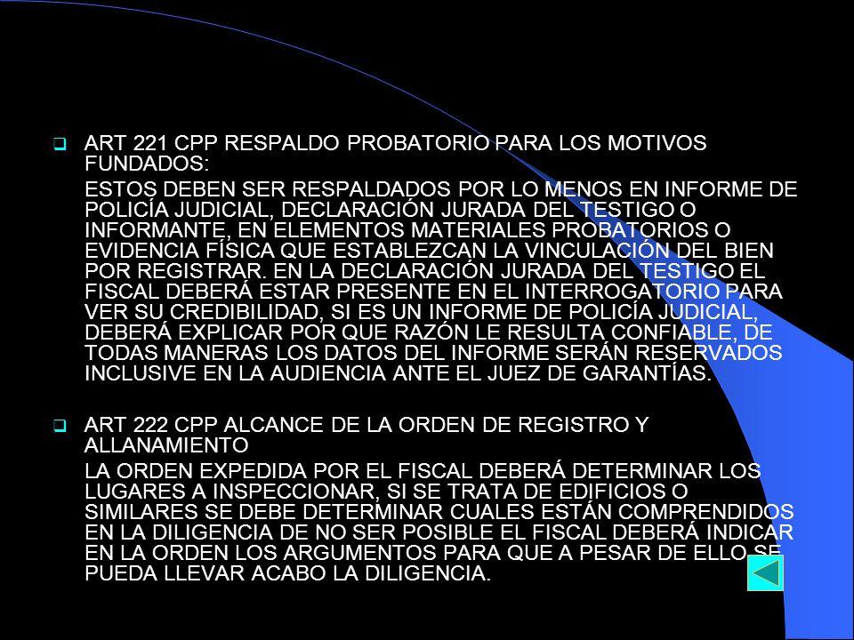 ART 221 CPP RESPALDO PROBATORIO PARA LOS MOTIVOS FUNDADOS: