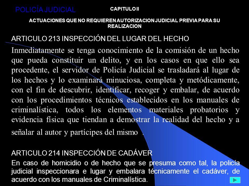 POLICÍA JUDICIAL CAPITULO II ACTUACIONES QUE NO REQUIEREN AUTORIZACION JUDICIAL PREVIA PARA SU REALIZACION.