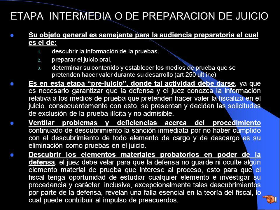 ETAPA INTERMEDIA O DE PREPARACION DE JUICIO