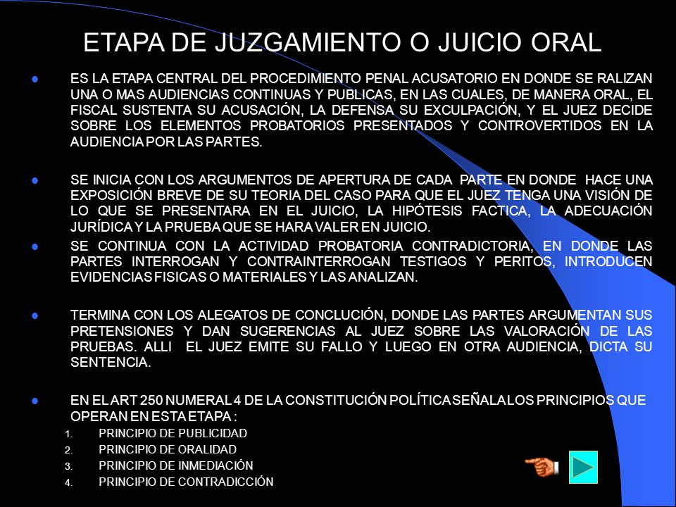 ETAPA DE JUZGAMIENTO O JUICIO ORAL