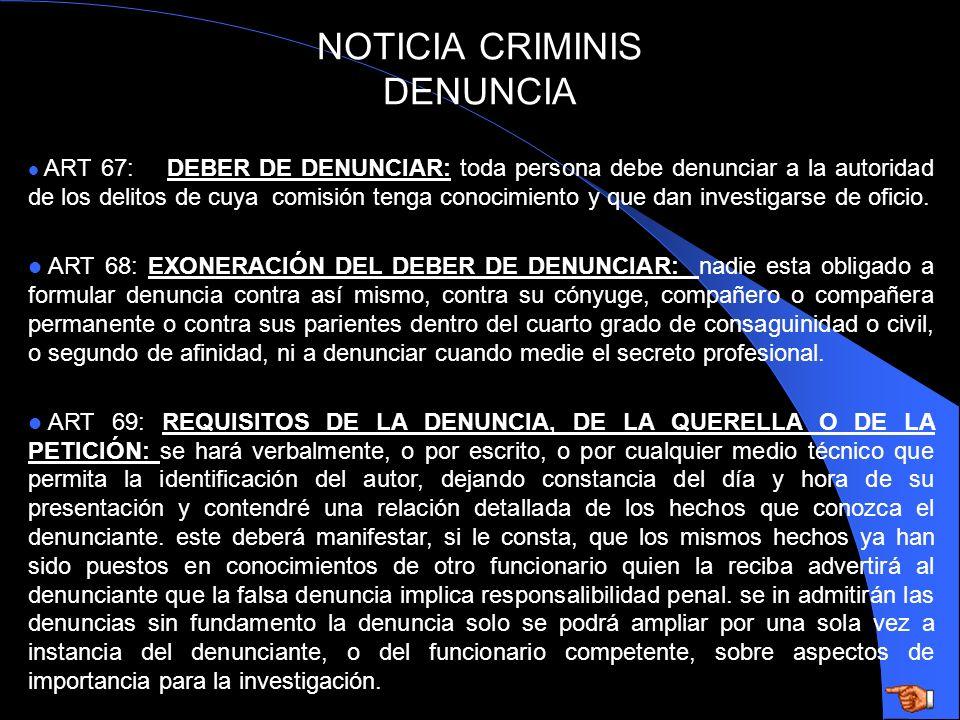 NOTICIA CRIMINIS DENUNCIA
