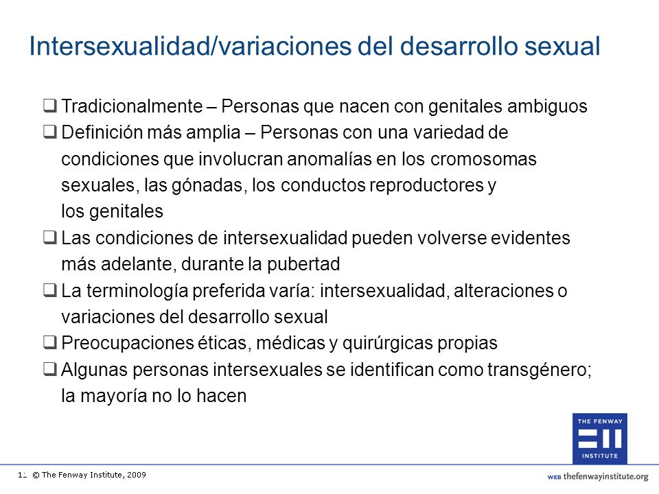 Intersexualidad/variaciones del desarrollo sexual