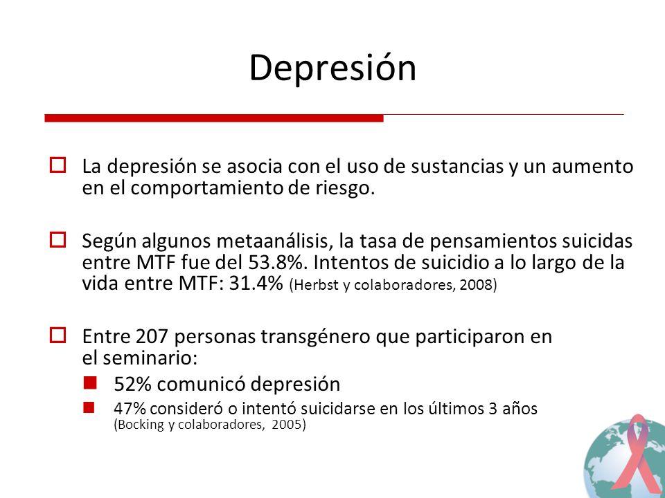 Depresión La depresión se asocia con el uso de sustancias y un aumento en el comportamiento de riesgo.