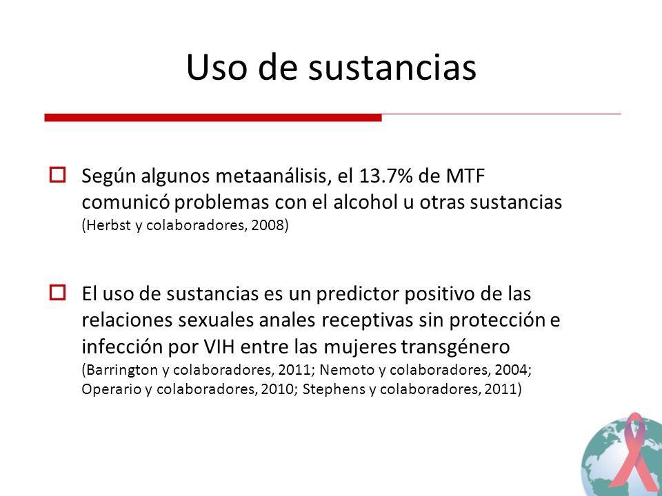 Uso de sustancias Según algunos metaanálisis, el 13.7% de MTF comunicó problemas con el alcohol u otras sustancias (Herbst y colaboradores, 2008)
