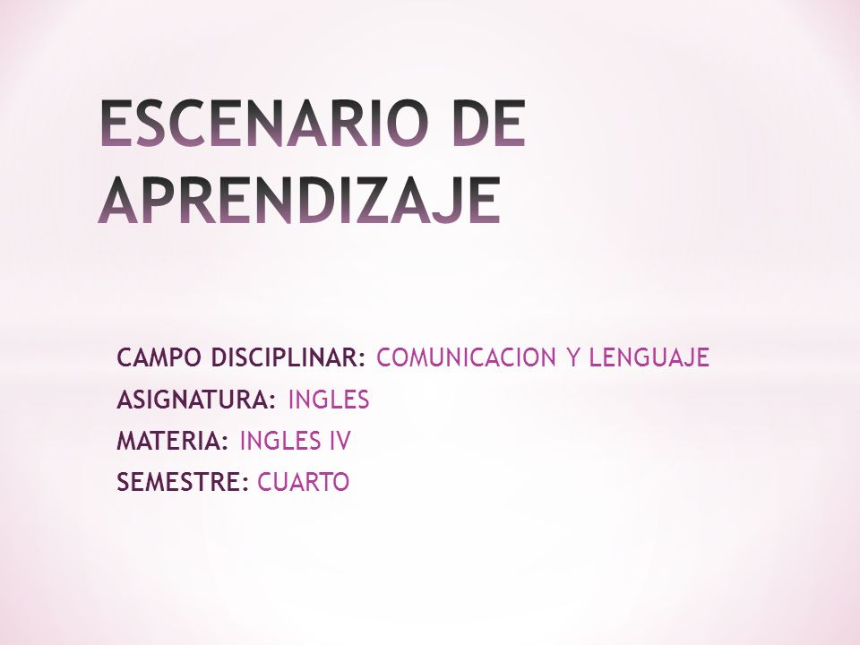 ESCENARIO DE APRENDIZAJE