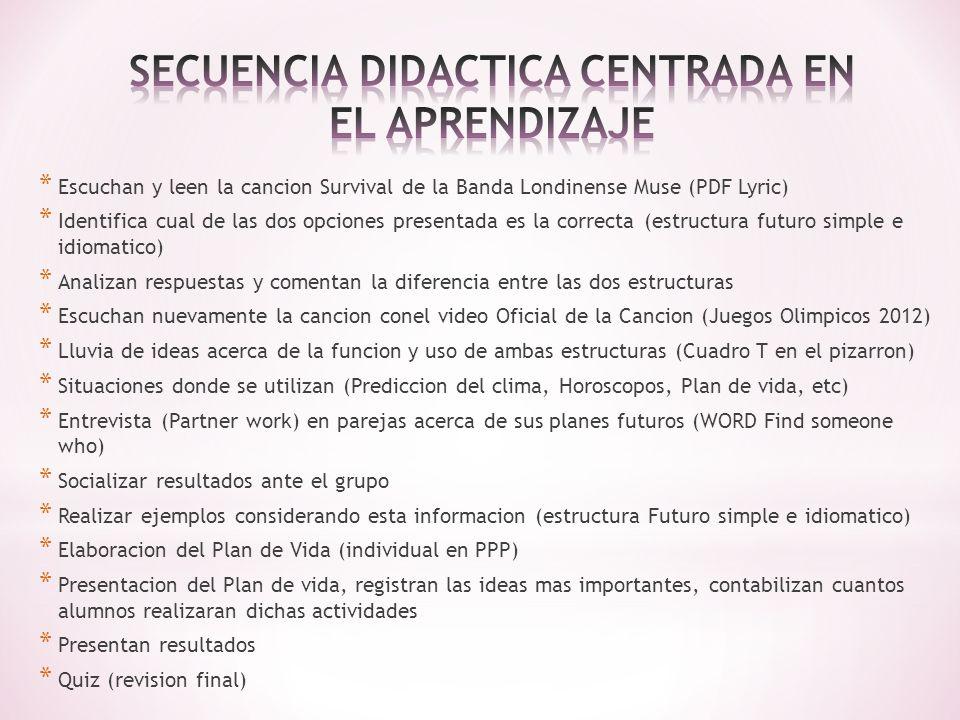 SECUENCIA DIDACTICA CENTRADA EN EL APRENDIZAJE