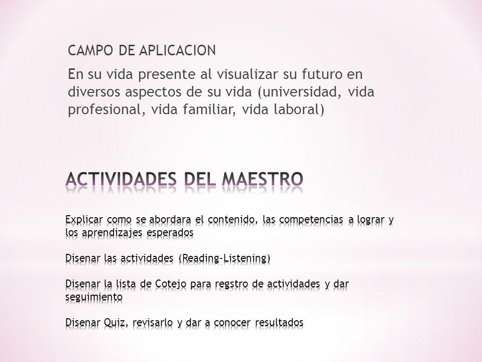 CAMPO DE APLICACION En su vida presente al visualizar su futuro en diversos aspectos de su vida (universidad, vida profesional, vida familiar, vida laboral)