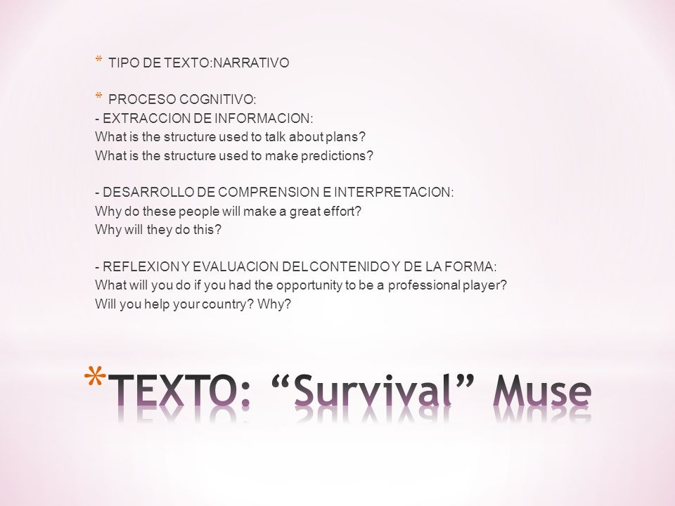 TEXTO: Survival Muse