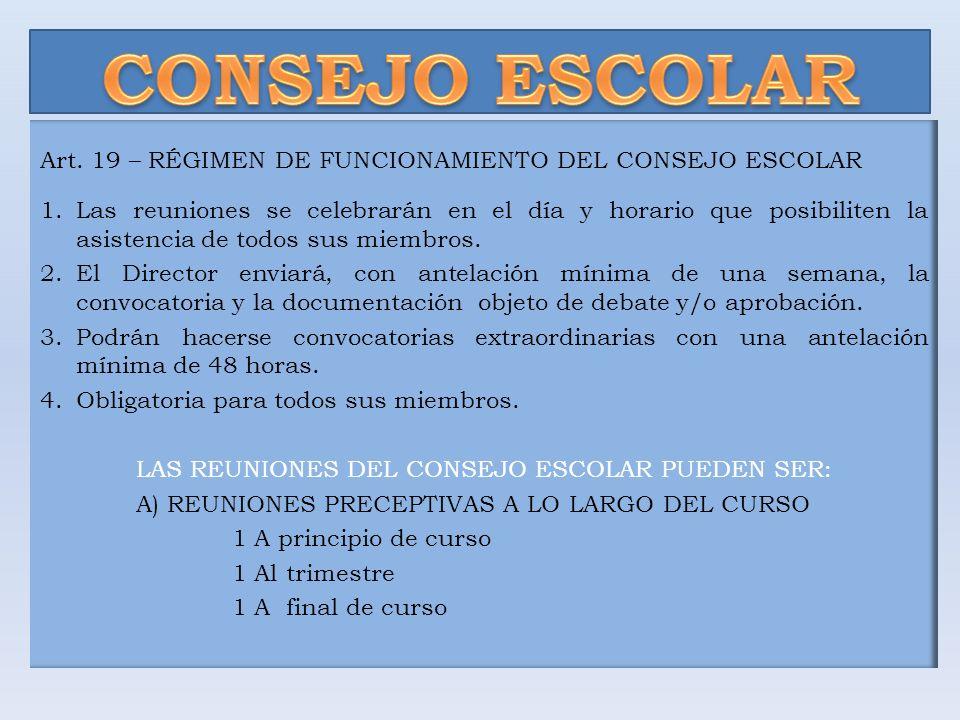 CONSEJO ESCOLAR Art. 19 – RÉGIMEN DE FUNCIONAMIENTO DEL CONSEJO ESCOLAR.