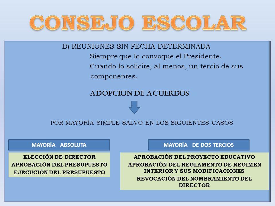 CONSEJO ESCOLAR B) REUNIONES SIN FECHA DETERMINADA