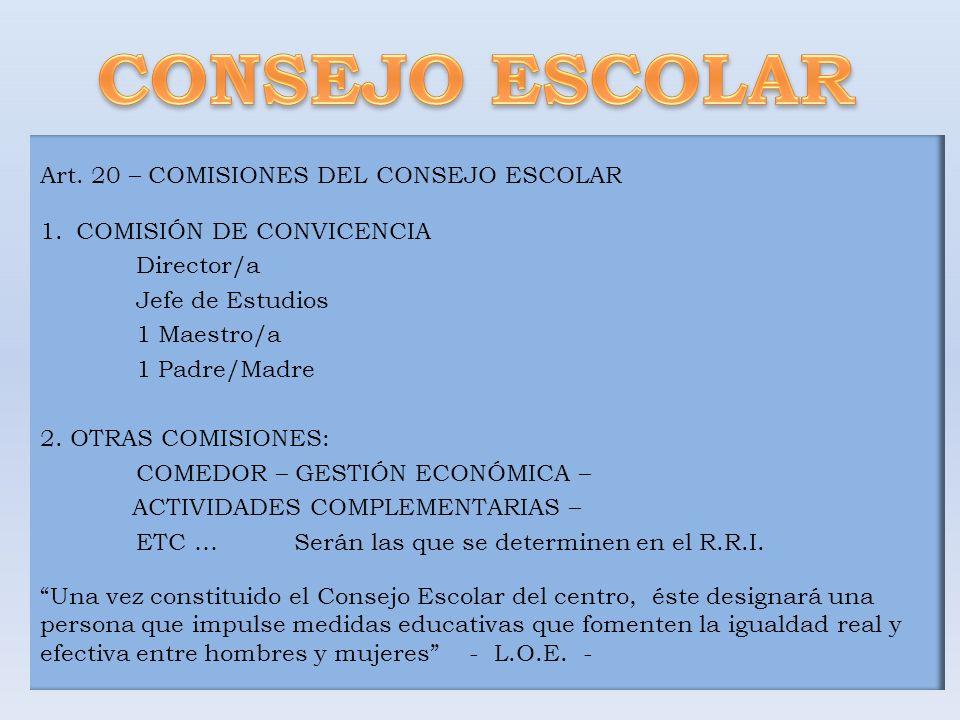 CONSEJO ESCOLAR Art. 20 – COMISIONES DEL CONSEJO ESCOLAR