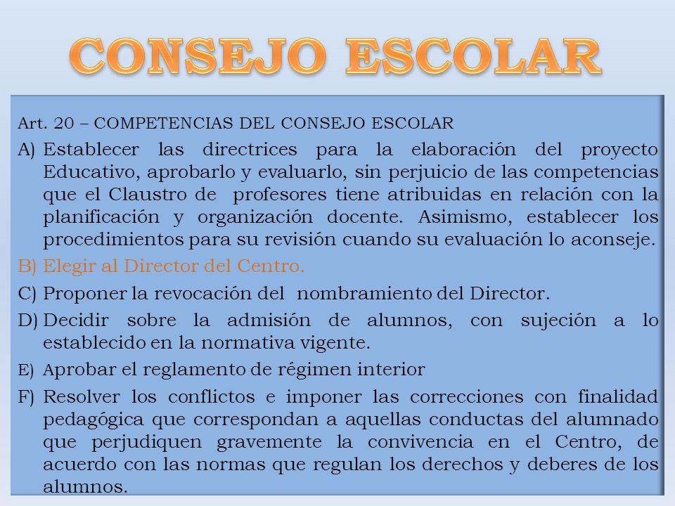CONSEJO ESCOLAR Art. 20 – COMPETENCIAS DEL CONSEJO ESCOLAR.
