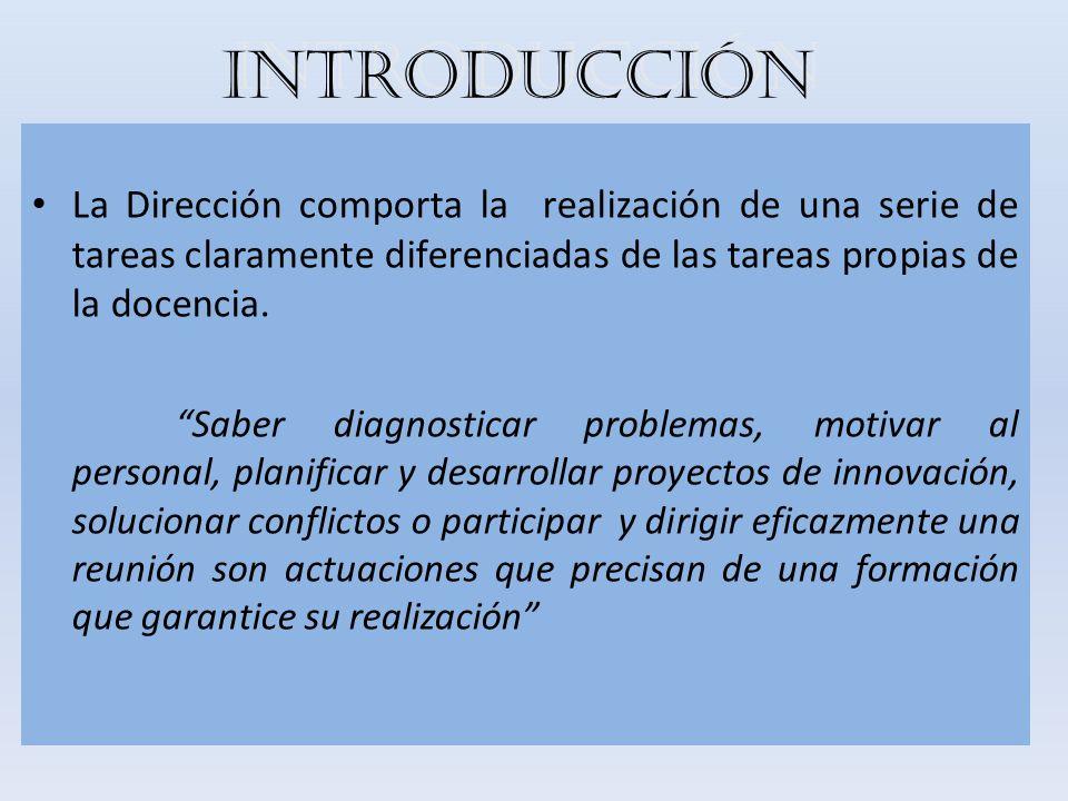 INTRODUCCIÓN La Dirección comporta la realización de una serie de tareas claramente diferenciadas de las tareas propias de la docencia.