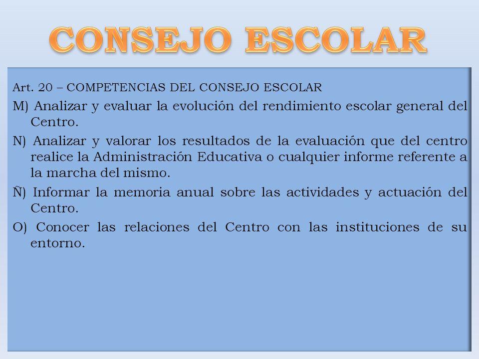 CONSEJO ESCOLAR Art. 20 – COMPETENCIAS DEL CONSEJO ESCOLAR. M) Analizar y evaluar la evolución del rendimiento escolar general del Centro.