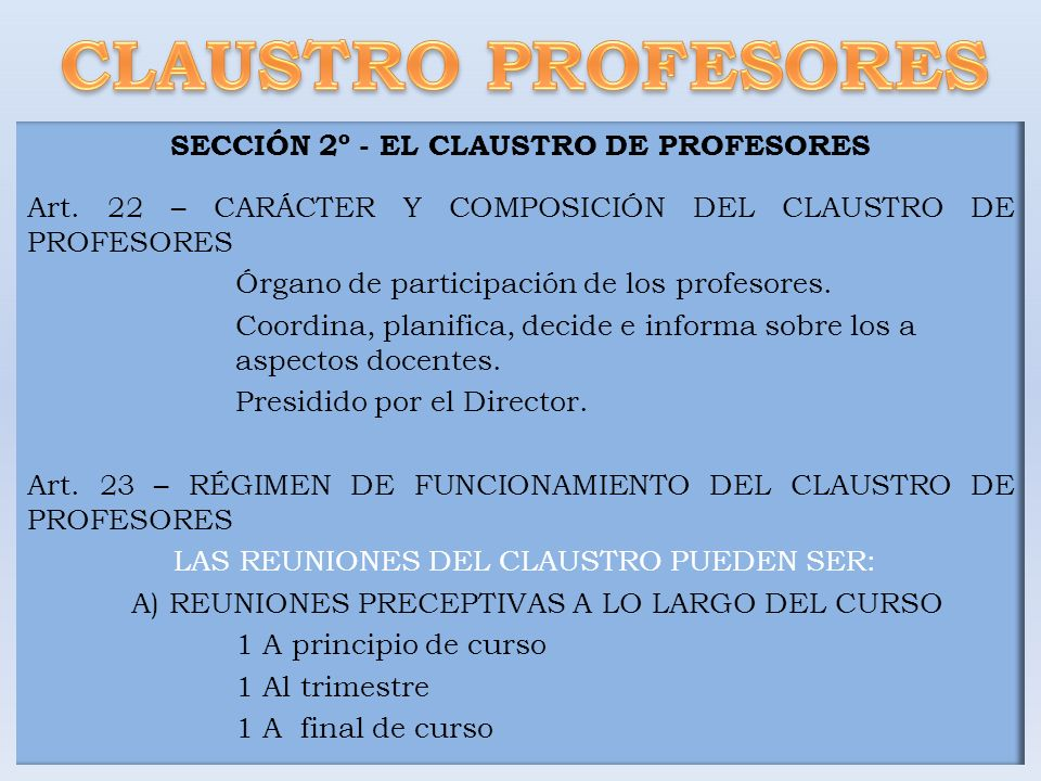 SECCIÓN 2º - EL CLAUSTRO DE PROFESORES