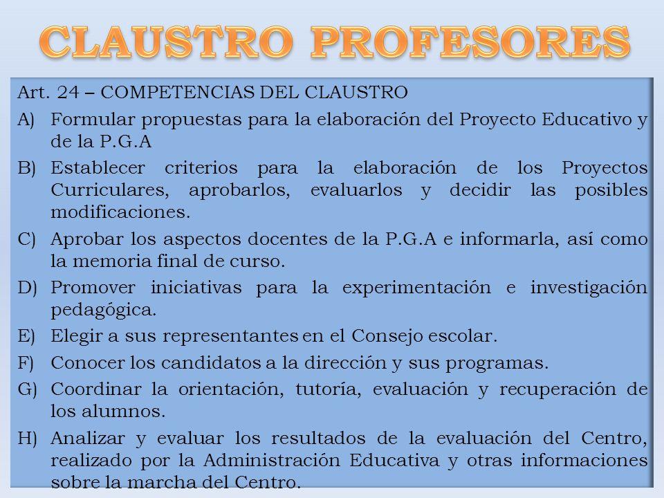 CLAUSTRO PROFESORES Art. 24 – COMPETENCIAS DEL CLAUSTRO