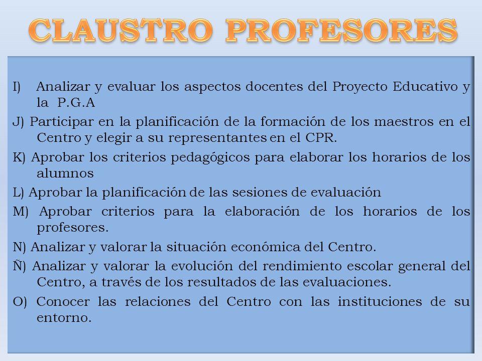 CLAUSTRO PROFESORES I) Analizar y evaluar los aspectos docentes del Proyecto Educativo y la P.G.A.