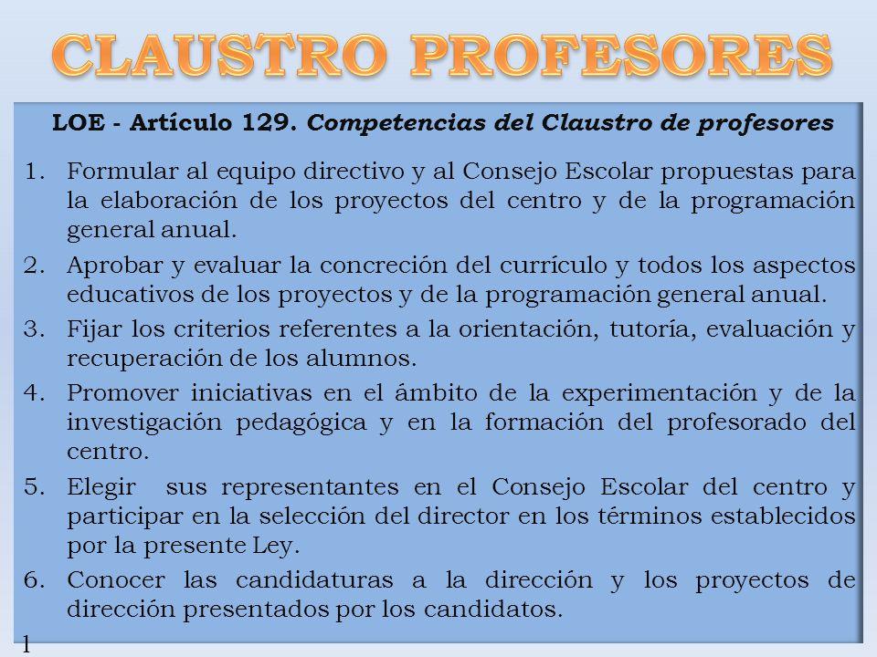 LOE - Artículo 129. Competencias del Claustro de profesores
