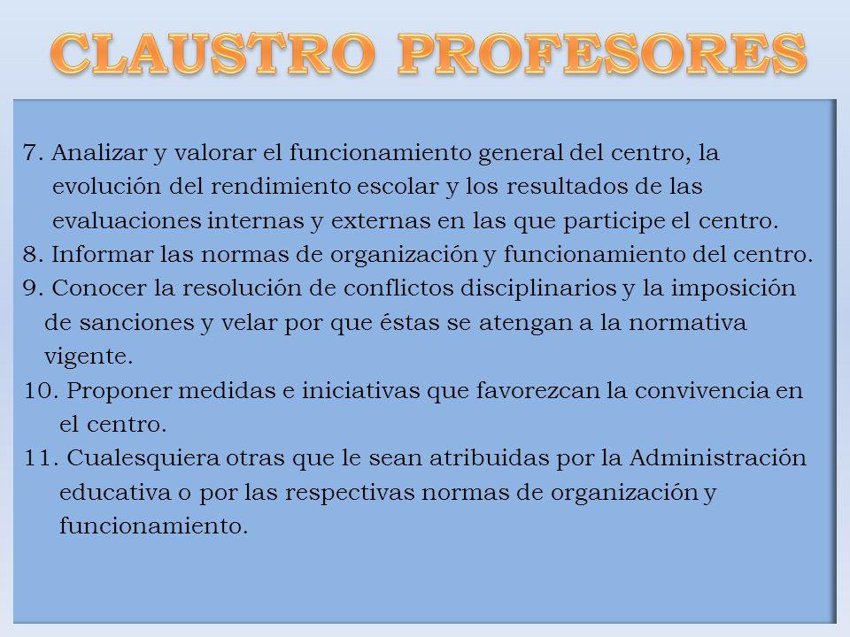 CLAUSTRO PROFESORES 7. Analizar y valorar el funcionamiento general del centro, la. evolución del rendimiento escolar y los resultados de las.