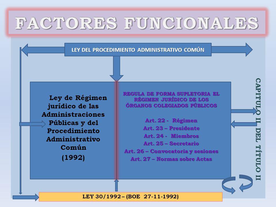 FACTORES FUNCIONALES CAPITULO II DEL TÍTULO II (1992)