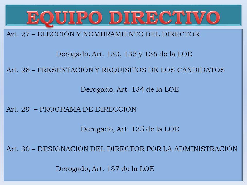 EQUIPO DIRECTIVO Art. 27 – ELECCIÓN Y NOMBRAMIENTO DEL DIRECTOR
