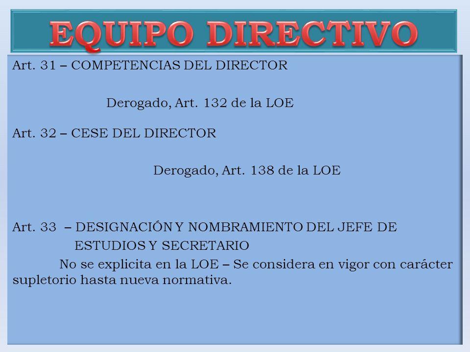 EQUIPO DIRECTIVO Art. 31 – COMPETENCIAS DEL DIRECTOR