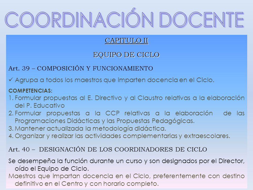 COORDINACIÓN DOCENTE CAPITULO II EQUIPO DE CICLO