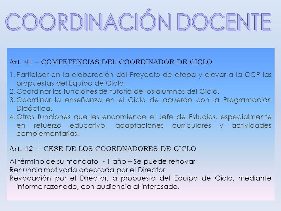 COORDINACIÓN DOCENTE Art. 41 – COMPETENCIAS DEL COORDINADOR DE CICLO